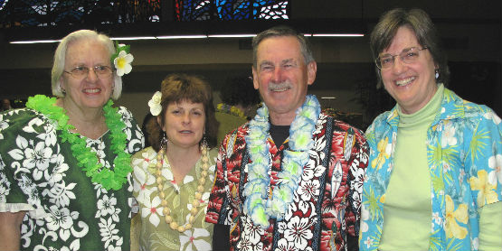 Hawaiian Night, Group in Floral Shirts